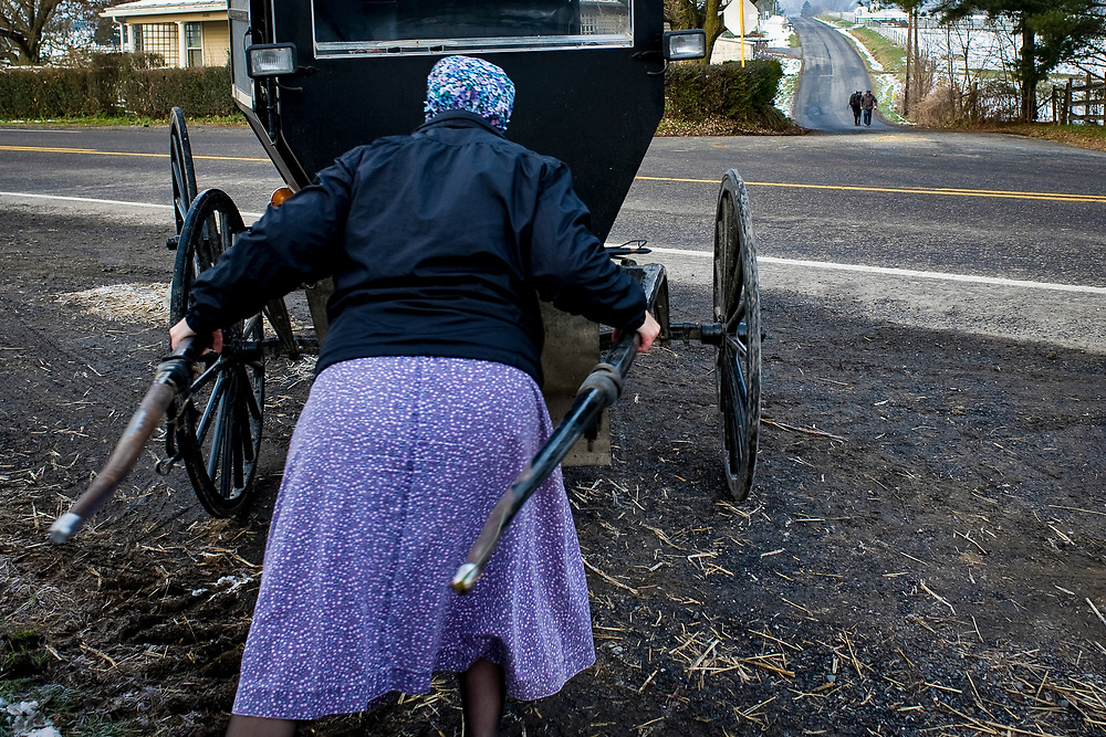 Mary Ethel Rhodes pushes the family buggy out of the barn as her husband, James, brings the horses up the road.