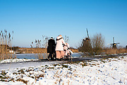 Woman with babycar hikes through the Kinderdijk winterlandscape, South of Holland