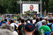 President Barack Obama speaks from the Lincoln Memorial on the National Mall in Washington, District of Columbia, U.S., on Wednesday, Aug. 28, 2013, as part of the Let Freedom Ring Commemoration celebrating the 50th anniversary of Dr. Martin Luther King Jr.s' I have a Dream Speech. Photographer: Pete Marovich/Bloomberg