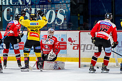 11.10.2019, Ice Rink, Znojmo, CZE, EBEL, HC Orli Znojmo vs Vienna Capitals, 9. Runde, im Bild v.l. Kevin Tansey (HC Orli Znojmo) Julian Groslercher (spusu Vienna Capitals) Teemu Tapio Lassila (HC Orli Znojmo) Adam Sedlak (HC Orli Znojmo) // during the Erste Bank Eishockey League 9th round match between HC Orli Znojmo and Vienna Capitals at the Ice Rink in Znojmo, Czechia on 2019/10/11. EXPA Pictures © 2019, PhotoCredit: EXPA/ Rostislav Pfeffer