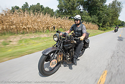 """Andreas """"Andy"""" Kaindl of Southern Germany riding his 1924 Henderson Deluxe during Stage 5 of the Motorcycle Cannonball Cross-Country Endurance Run, which on this day ran from Clarksville, TN to Cape Girardeau, MO., USA. Tuesday, September 9, 2014.  Photography ©2014 Michael Lichter."""
