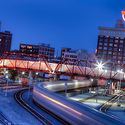 Railroad behind Union Station and the Western Auto sign atop the Western Auto Lofts.