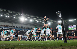 Ospreys' Alun Wyn Jones claims the lineout<br /> <br /> Photographer Simon King/Replay Images<br /> <br /> Guinness PRO14 Round 19 - Ospreys v Connacht - Friday 6th April 2018 - Liberty Stadium - Swansea<br /> <br /> World Copyright © Replay Images . All rights reserved. info@replayimages.co.uk - http://replayimages.co.uk