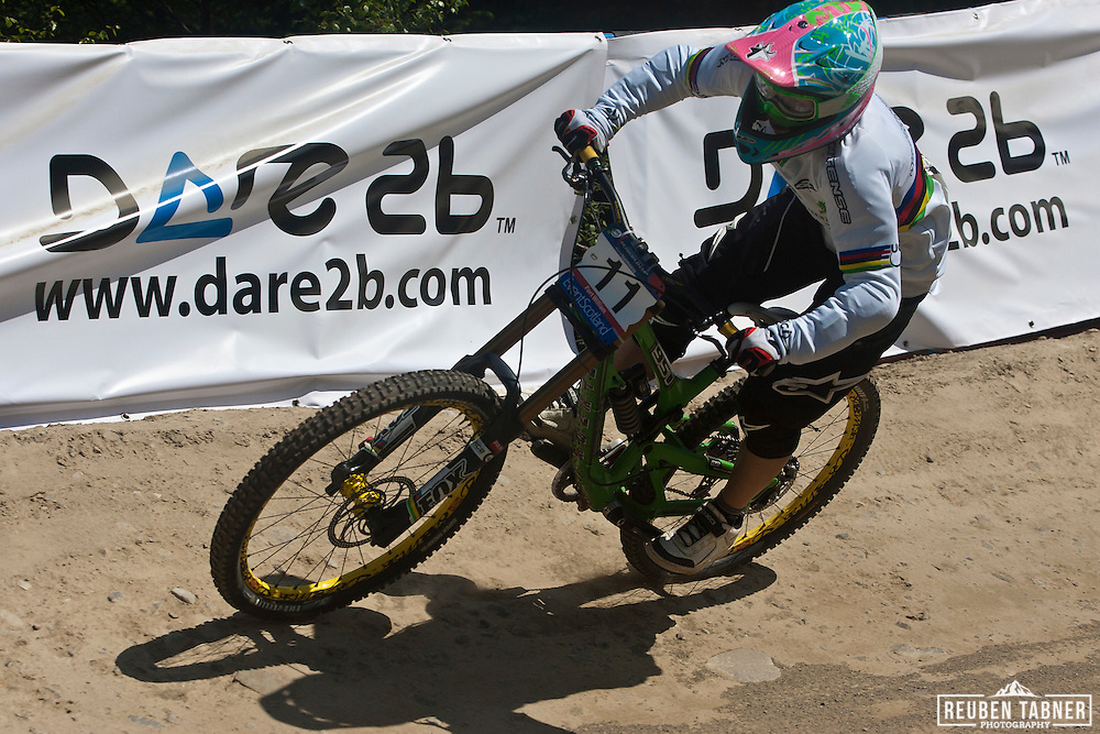 Emmeline Ragot (FRA) of Suspension Center during downhill qualification at the UCI Mountain Bike World Cup in Fort William, Scotland.