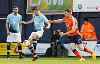 Blackpool's Jordan Flores is pressured by Luton Town's Stephen O'Donnell<br /> <br /> Photographer David Shipman/CameraSport<br /> <br /> The EFL Sky Bet League Two - Luton Town v Blackpool - Saturday 1st April 2017 - Kenilworth Road - Luton<br /> <br /> World Copyright © 2017 CameraSport. All rights reserved. 43 Linden Ave. Countesthorpe. Leicester. England. LE8 5PG - Tel: +44 (0) 116 277 4147 - admin@camerasport.com - www.camerasport.com