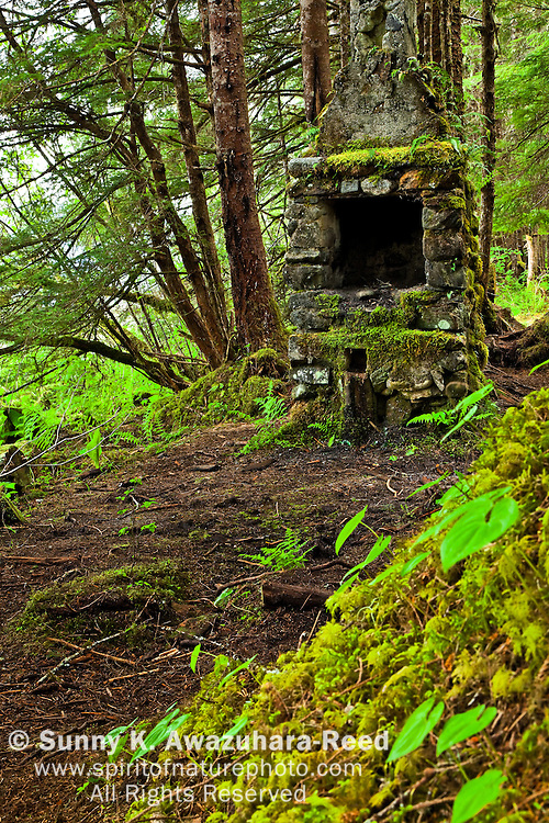 Old fireplace by a trail in temperate rainforest at Sandy Beach Recreation Area, Petersburg, SE Alaska - early Summer.