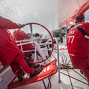 Leg 6 to Auckland, day 09 on board MAPFRE, Pablo Arrarte stearing, Xabi Fernandez with the main sheet and Blair Tuke at the aft pedestal. 15 February, 2018.