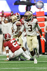 Florida State Seminoles defensive back Derwin James (3) celebrates against the Alabama Crimson Tide during the Chick-fil-A Kickoff NCAA football game on Saturday, September 2, 2017, in Atlanta. (Paul Abell via Abell Images for Chick-fil-A Kickoff Game)