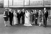 """16/09/1967<br /> 09/16/1967<br /> 16 September 1967<br /> Wedding of Mr Francis W. Moloney, 28 The Stiles Road, Clontarf and Ms Antoinette O'Carroll, """"Melrose"""", Leinster Road, Rathmines at Our Lady of Refuge Church, Rathmines, with reception in Colamore Hotel, Coliemore Road, Dalkey. Image shows the Bride and Groom with Bride's party."""