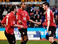 Photo: Alan Crowhurst.<br />Brighton & Hove Albion v Bristol City. Coca Cola League 1. 24/02/2007. Bristol's Phil Jevons (R) celebrates his second goal.