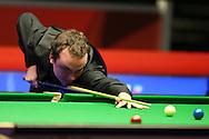 Sam Baird of England in action during his 1st round match against John Higgins of Scotland.  Coral Welsh Open Snooker 2017, day 1 at the Motorpoint Arena in Cardiff, South Wales on Monday 13th February 2017.<br /> pic by Andrew Orchard, Andrew Orchard sports photography.
