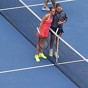 Flavia Pennetta, Italy, and Roberta Vinci. (left), Italy, before the Women's Singles Final match during the US Open Tennis Tournament, Flushing, New York, USA. 12th September 2015. Photo Tim Clayton