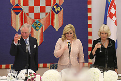 14.03.2016, Zagreb, CRO, der Britische Kronprinz Charles und seine Frau Camilla besuchen Kroatien, im Bild British Crown Prince Charles and his wife Camilla, the Duchess of Cornwall, are visiting Croatia as part of a regional tour that will include Serbia, Montenegro and Kosovo. A formal dinner in the President's Office, attended by 68 guests, including political leaders, religious dignitaries, business people and prominent public figures. Among the guests is actress Zrinka Cvitesic who has achieved great success in London's West End. EXPA Pictures © 2016, PhotoCredit: EXPA/ Pixsell/ Igor Kralj/POOL<br /> <br /> *****ATTENTION - for AUT, SLO, SUI, SWE, ITA, FRA only*****