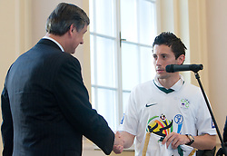 Danilo Turk and Robert Koren at Reception of Slovenian National football team at president of Republic of Slovenia dr. Danilo Turk after Slovenia qualified for the FIFA World Cup South Africa 2010, in President's place , Ljubljana, Slovenia.   (Photo by Vid Ponikvar / Sportida)
