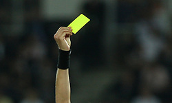Referee shows yellow card during the UEFA EURO 2008 Quarter-Final soccer match between Croatia and Turkey at Ernst-Happel Stadium, on June 20,2008, in Wien, Austria. Turkey won after penalty shots. (Photo by Vid Ponikvar / Sportal Images)