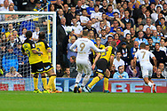 Leeds United striker Pierre-Michel Lasogga (9) hits the post during the EFL Sky Bet Championship match between Leeds United and Burton Albion at Elland Road, Leeds, England on 9 September 2017. Photo by Richard Holmes.