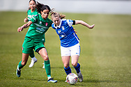 Veatriki Sarris of Birmingham City Women battles for possession with Destiny Toussant of Coventry Utd Ladies during the Women's FA Cup match between Birmingham City Women and Coventry United Ladies at Solihull Moors FC, Solihull, United Kingdom on 18 April 2021.
