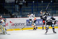 30.11.2018, Ice Rink, Znojmo, CZE, EBEL, HC Orli Znojmo vs Dornbirn Bulldogs, 24. Runde, im Bild v.l. Juha Rasmus Rinne (Dorbirn Bulldogs) Reid Colin McNeill (Dorbirn Bulldogs) Ryan Kujawinski (HC Orli Znojmo) Dominik Tejnor (HC Orli Znojmo) // during the Erste Bank Eishockey League 24th round match between HC Orli Znojmo and Dornbirn Bulldogs at the Ice Rink in Znojmo, Czechia on 2018/11/30. EXPA Pictures © 2018, PhotoCredit: EXPA/ Rostislav Pfeffer
