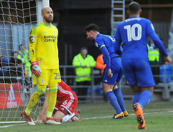 Sean Morrison of Cardiff City scores a goal making it 1-0- Mandatory by-line: Nizaam Jones/JMP - 17/02/2018 -  FOOTBALL - Cardiff City Stadium - Cardiff, Wales -  Cardiff City v Middlesbrough - Sky Bet Championship