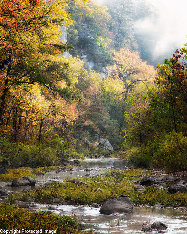 This was taken at Kyle's Landing on the Buffalo River.  I woke up early to try and get some morning shots.  I had been focused on the bluffs upstream when I turned around and noticed this view downstream.  The fog was starting to break up and the sun light started pouring into the river valley.  It was a magical moment.