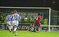 Photo:Alan Crowhurst.<br />BRIGHTON  v SWINDON,Nationwide Division Two Playoffs 2nd Leg, 20/05/2004.Rory Fallon puts Swindon 2-1 up in extra time on aggregate.