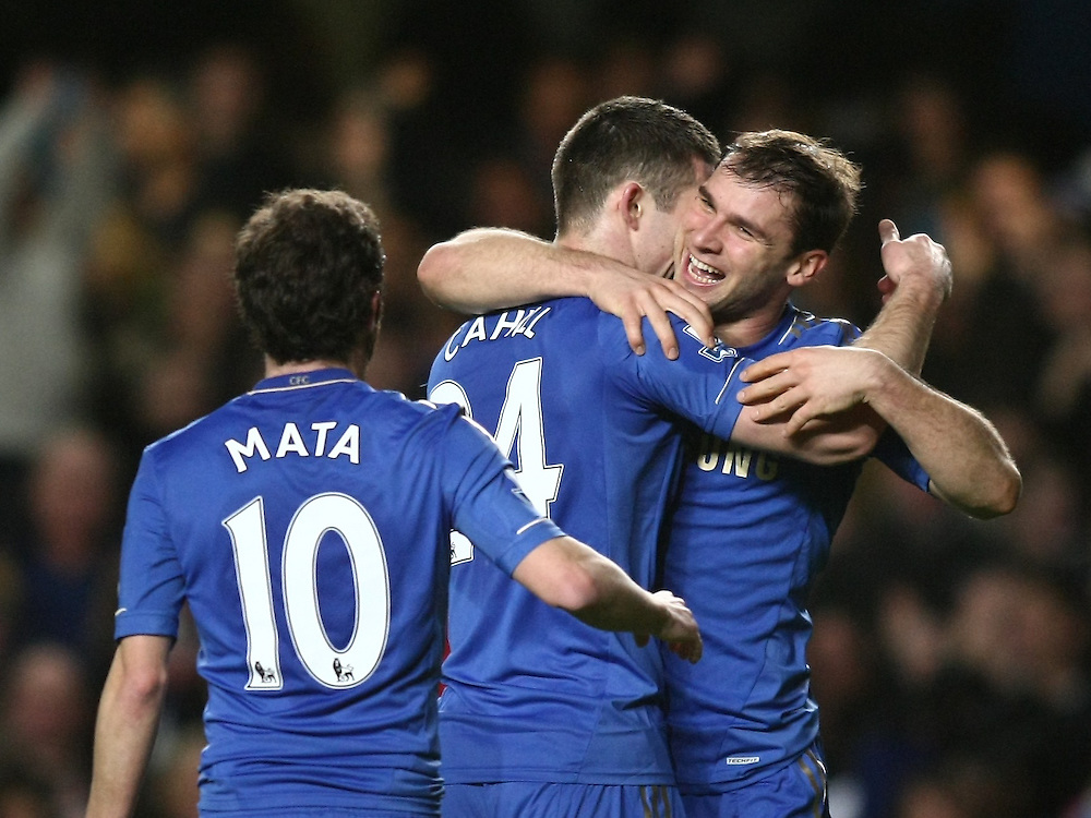 Chelsea's Branislav Ivanovic celebrates scoring his sides third goal with team-mate Gary Cahill ..Football - Barclays Premiership - Chelsea v Aston Villa - Sunday 23rd December 2012 - Stamford Bridge - London..