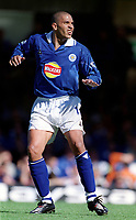 Stan Collymore (Leicester City). Leicester City v Aston Villa, 19/8/2000, F.A. Carling Premiership. Credit : Colorsport / Matthew Impey.