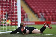Liverpool women goalkeeper Anke Preuss (1) lies stricken after fumbling the ball for Everton Women's goal 0-1 during the FA Women's Super League match between Liverpool Women and Everton Women at Anfield, Liverpool, England on 17 November 2019.