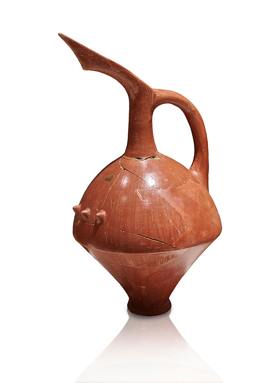 Terra cotta Hittite beaker shaped spouted pitcher - 1700 BC to 1500BC - Kültepe Kanesh - Museum of Anatolian Civilisations, Ankara, Turkey. Against a white background .<br /> <br /> If you prefer to buy from our ALAMY STOCK LIBRARY page at https://www.alamy.com/portfolio/paul-williams-funkystock/hittite-art-antiquities.html  - Type Kultepe into the LOWER SEARCH WITHIN GALLERY box. Refine search by adding background colour, place, museum etc<br /> <br /> Visit our HITTITE PHOTO COLLECTIONS for more photos to download or buy as wall art prints https://funkystock.photoshelter.com/gallery-collection/The-Hittites-Art-Artefacts-Antiquities-Historic-Sites-Pictures-Images-of/C0000NUBSMhSc3Oo
