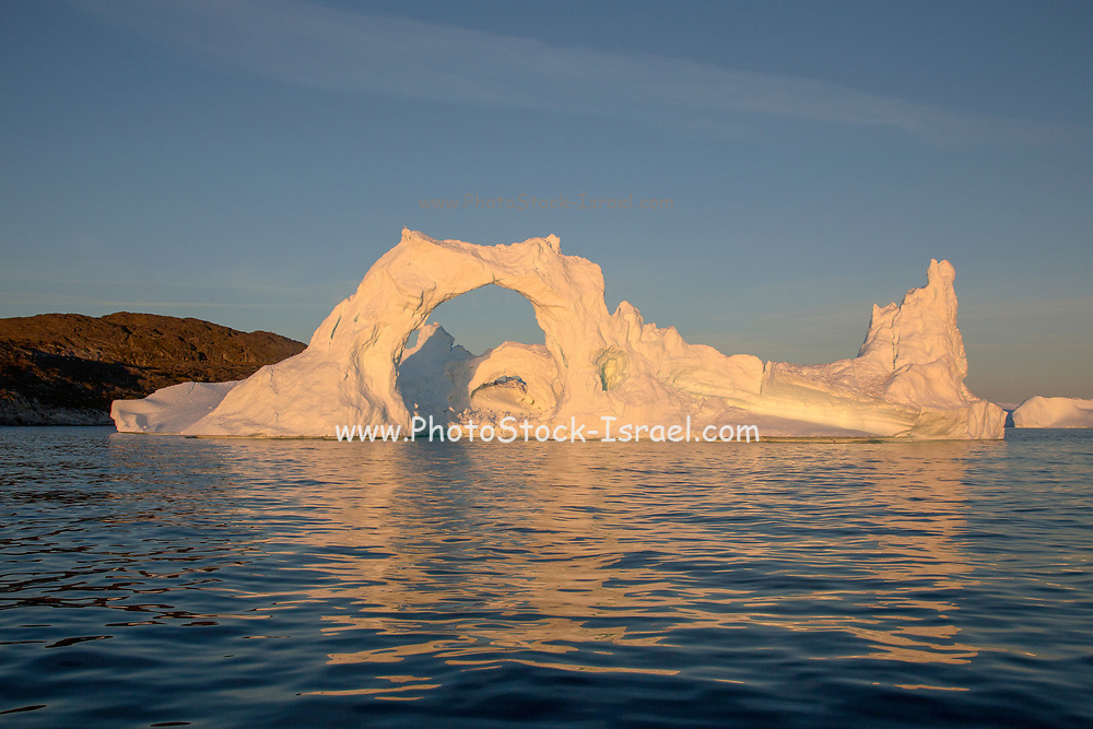 Icebergs from the icefjord, Ilulissat, Disko Bay, Greenland, Polar Region with midnight light