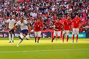 Harry Kane of England scores a goal (2-0) from a penalty kick during the UEFA European 2020 Qualifier match between England and Bulgaria at Wembley Stadium, London, England on 7 September 2019.
