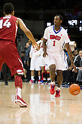 DALLAS, TX - NOVEMBER 25: Ryan Manuel #1 of the SMU Mustangs brings the ball up court against the Arkansas Razorbacks on November 25, 2014 at Moody Coliseum in Dallas, Texas.  (Photo by Cooper Neill/Getty Images) *** Local Caption *** Ryan Manuel