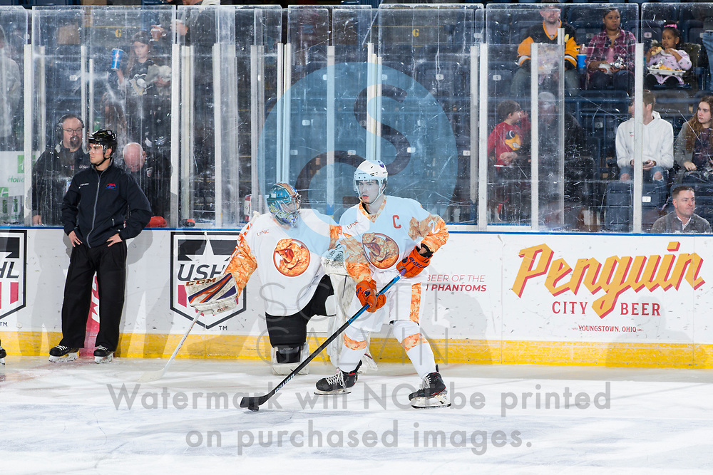 The Youngstown Phantoms defeat the Cedar Rapids RoughRiders 3-1 at the Covelli Centre on March 7, 2020.<br /> <br /> Aiden Gallacher, defenseman, 2; Dominic Basse, goalie, 22