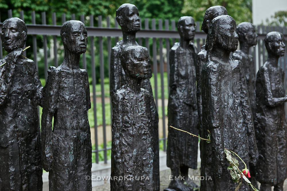 Sculpture in front of the old Jewish cemetery in Berlin.Detail.