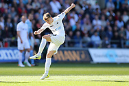 Tom Carroll of Swansea city shoots and scores his teams 2nd goal. Premier league match, Swansea city v Stoke City at the Liberty Stadium in Swansea, South Wales on Saturday 22nd April 2017.<br /> pic by Andrew Orchard, Andrew Orchard sports photography.