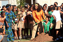 American television host and media mogul Oprah Winfrey is seen with 2004 Nobel Peace Prize winner Dr. Wangari Maathai, L, at the Oprah Winfrey Leadership Academy for girls in Meyerton, south of Johannesburg, Tuesday, 25 November 2008. Winfrey and Maathai addressed learners at the school as part of a leadership conference to examine the role that the youth could play within their communities and the wider South African society to contribute positive change. A tree was planted as part of  the learners ' commitment to leadership and change. Picture: Werner Beukes/SAPA