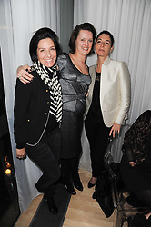 Left to right, SHARLEEN SPITERI, LORRAINE GODDARD and MARY McCARTNEY at a party following a private view of photographs by Lorraine Goddard entitled 'Out of Context' held at the Sanderson Hotel, Berners Street, London on 21st January 2010.