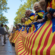 The National Day of Catalonia flag in Barcelona, Spain