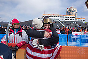 Redmond Gerard, USA, hugs his brother following winning the mens Snowboard Slopestyle Finals at the Pyeongchang Winter Olympics on the 11th February 2018 in Phoenix Snow Park in South Korea