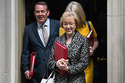 London, UK. 7 May, 2019. Liam Fox MP, Secretary of State for International Trade and President of the Board of Trade, Elizabeth Truss MP, Chief Secretary to the Treasury, and Andrea Leadsom MP, Lord President of the Council and Leader of the House of Commons, leaves 10 Downing Street following a Cabinet meeting.