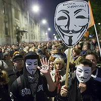 Protest against the planned Internet tax in Budapest, Hungary on October 28, 2014. ATTILA VOLGYI