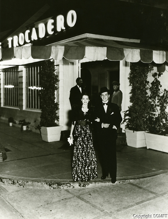 1936 Robert Cummings & Marsha Hunt at Trocadero Cafe Nightclub in West Hollywood