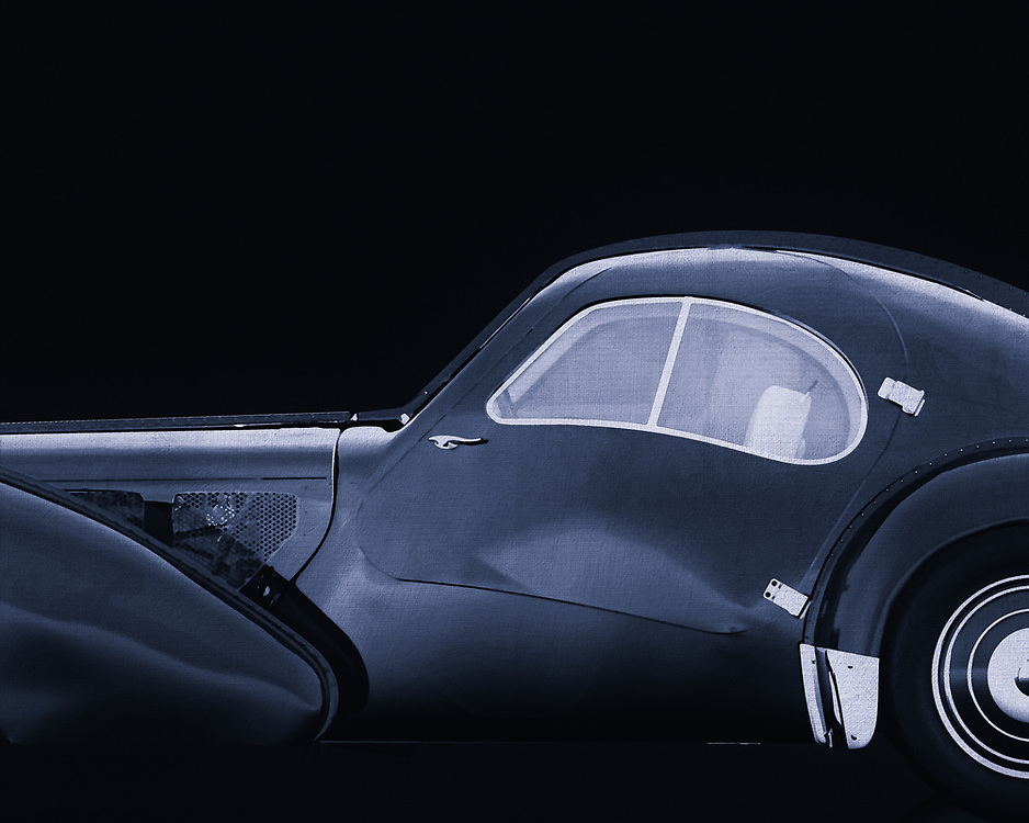 The Bugatti Type 57 was a Bugatti car. The car was built from 1934 to 1940 and had a 3.3-litre eight-in-line engine with two camshafts that was derived from the engine of the Bugatti 49. The car was designed by Jean Bugatti, the son of Ettore Bugatti.<br /> <br /> There were two versions of the type 57: the 57 and the 57S, with lowered chassis. There was also a version with compressor, called 57C (or 57SC). There were several coachwork available: among others the Ventoux, the Stelvio, the Atalante and the Atlantic (of which only a few were built in 1936). The design of the Atlantic was inspired by the experimental Aérolithe (1935). In 1937 and 1939 a Bugatti 57 won the Le Mans 24-hour race, both years with Jean-Pierre Wimille behind the wheel. –<br /> <br /> <br /> BUY THIS PRINT AT<br /> <br /> FINE ART AMERICA<br /> ENGLISH<br /> https://janke.pixels.com/featured/bugatti-phoenix-57-sc-atlantic-1938-jan-keteleer.html<br /> <br /> WADM / OH MY PRINTS<br /> DUTCH / FRENCH / GERMAN<br /> https://www.werkaandemuur.nl/nl/shopwerk/Bugatti-Phoenix-57-SC-Atlantic-1938-B-amp-W/544583/134