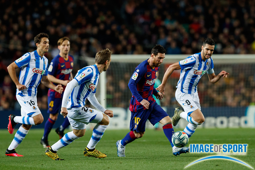Leo Messi of FC Barcelona in action during the Liga match between FC Barcelona and Real Sociedad at Camp Nou, Saturday, March 7, 2020, in Barcelona, Spain. (ESPA-Images/Image of Sport)