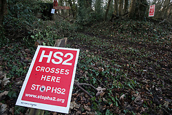 Wendover, UK. 10 January, 2020. Signs outside the newly-established Wendover Active Resistance Camp. Stop HS2 activists from around the UK established the camp in woodland outside Wendover on the proposed route for HS2 through the Chilterns AONB in response to requests for assistance from members of the local community opposed to the high speed rail link. The impact on the immediate area is expected to be even worse than initially expected, with not only two 500m viaducts and a 1km embankment to be constructed but also a Bentonite factory and 240-bed accommodation block.