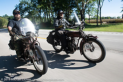 Clint Funderburg and Rich Rau riding in the Motorcycle Cannonball coast to coast vintage run. Stage 5 (229 miles) from Bowling Green, OH to Bourbonnais, IL. Wednesday September 12, 2018. Photography ©2018 Michael Lichter.