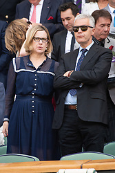 © Licensed to London News Pictures. 12/07/2018. London, UK. Amber Rudd and Russell Chambers watches the women's semi-finals round singles draw of the Wimbledon Tennis Championships 2018, at the All England Lawn Tennis and Croquet Club. Photo credit: Ray Tang/LNP