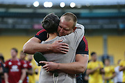 Joe Moody becomes the 19th Crusader to reach 100 games for the club & gets a hug from his mum. Super Rugby Aotearoa. Hurricanes v Crusaders, Sky Stadium, Wellington. Sunday 11th April 2021. Copyright photo: Grant Down / www.photosport.nz