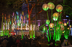 "© Licensed to London News Pictures. 14/01/2016. London, UK. ""Garden of Light"" by TILT in Leicester Square. The work forms part of Lumiere London, a major new light festival which commenced today to be held over four evenings and featuring artists who work with light.  The event is produced by Artichoke and supported by the Mayor of London.  Photo credit : Stephen Chung/LNP"