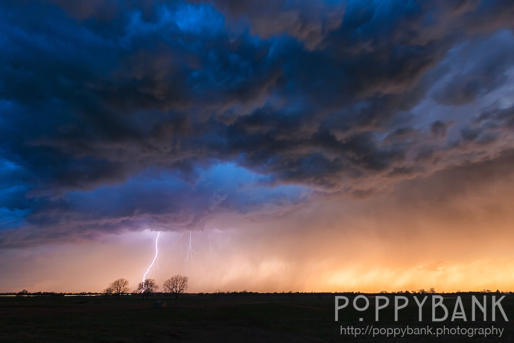 Lightning strikes at sunset from an approaching thunderstorm in Oklahoma